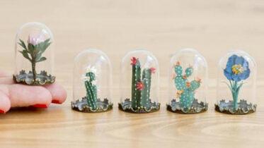 Miniaturas de terrários feitas em papel: conheça o trabalho incrível da artista Raya Sader Bujana!