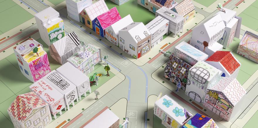 Construa cidades com moldes de papel