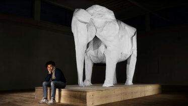 Artista cria elefante em tamanho real com apenas uma folha