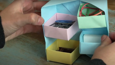 Como Se Faz: porta-treco com dobradura de papel